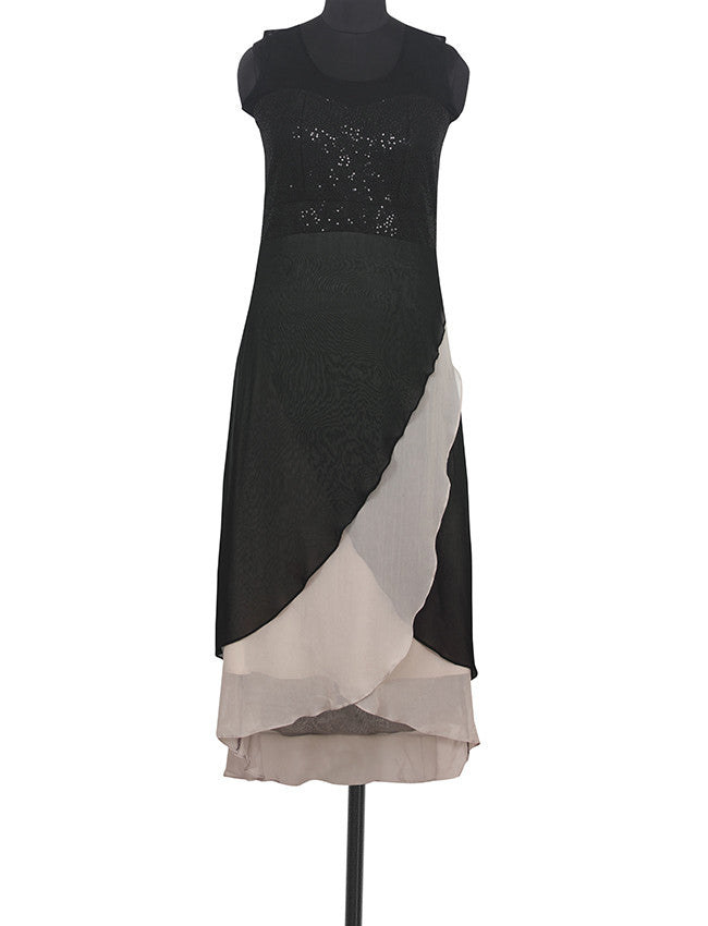 Black and grey designer kurti with sequins work