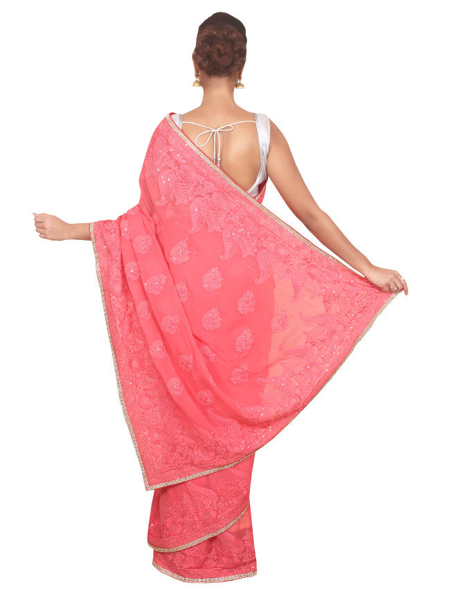 Coral pink saree with diamante and resham embroidery