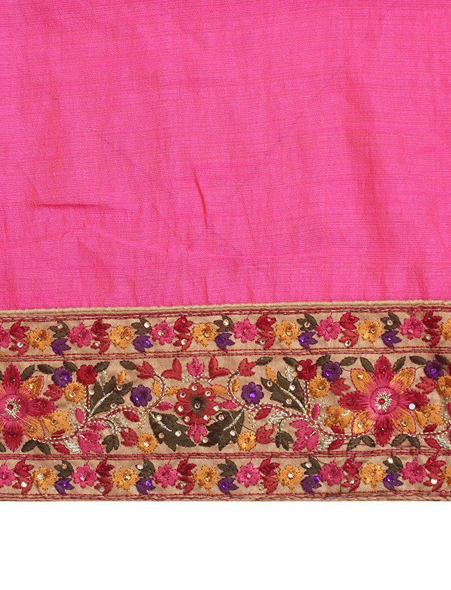 Bright pink saree with resham embroidery