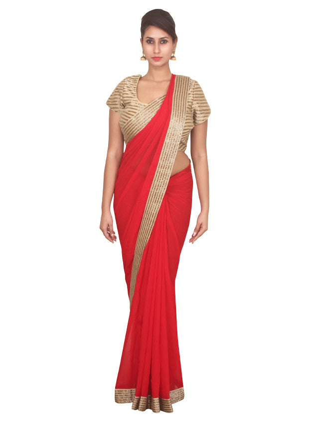 Red georgette saree with beautiful cutdana work
