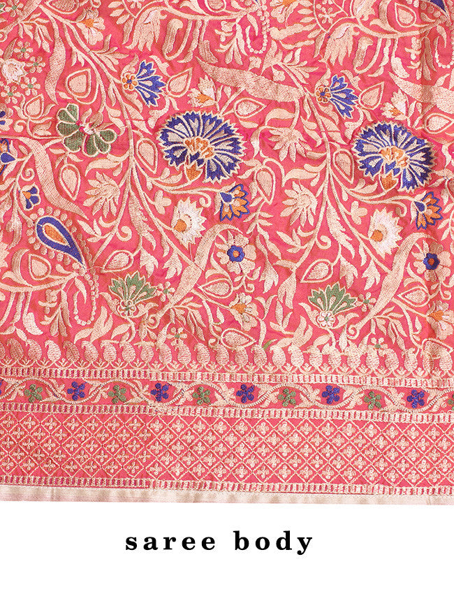 Rose pink and orange two toned saree with resham embroidery