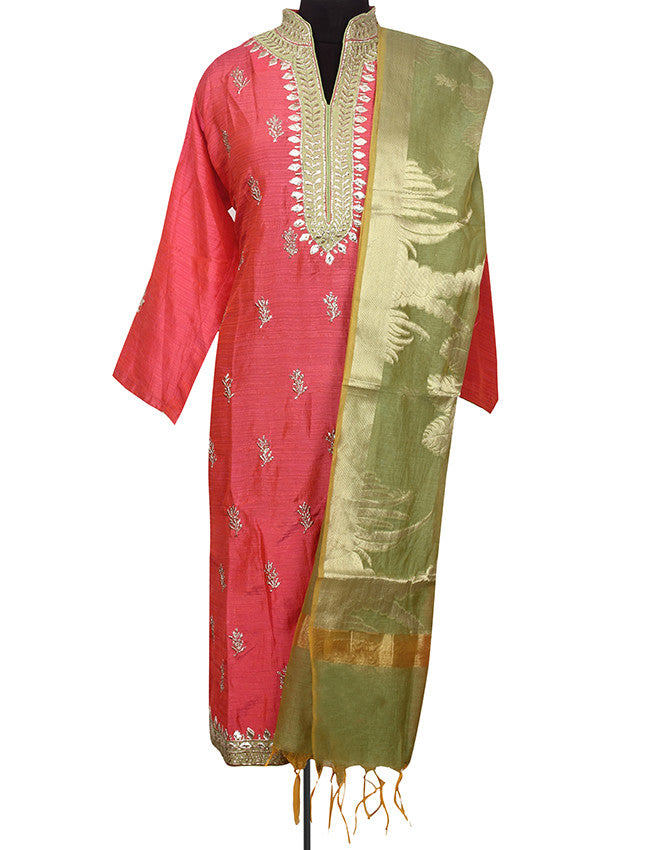 Carrot pink semistitched suit with zari embroidery and gotta patti