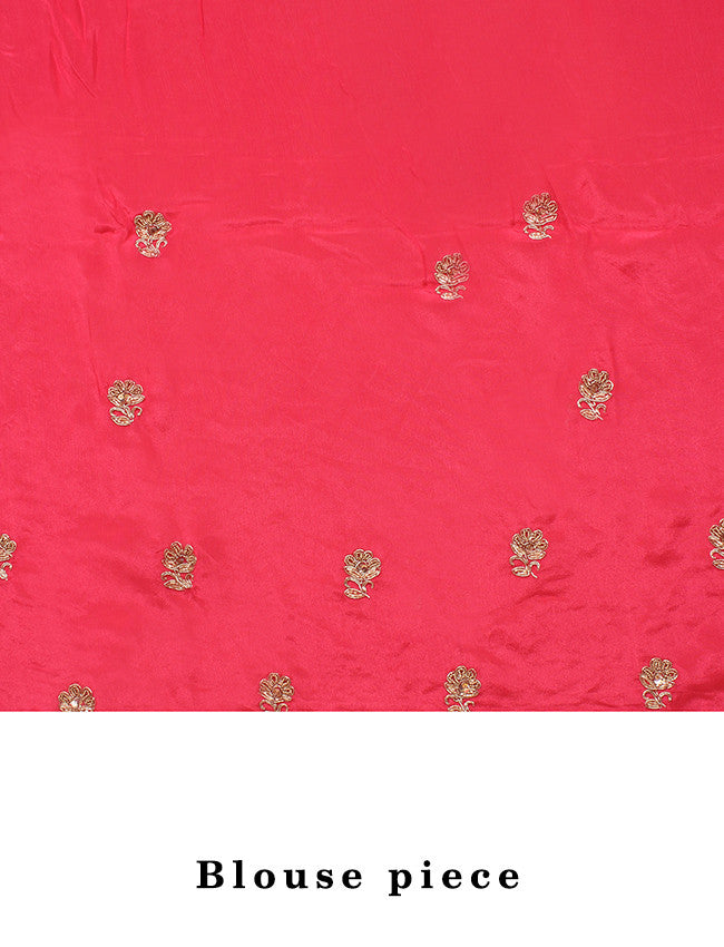 Bright pink saree with zardosi and zari cording
