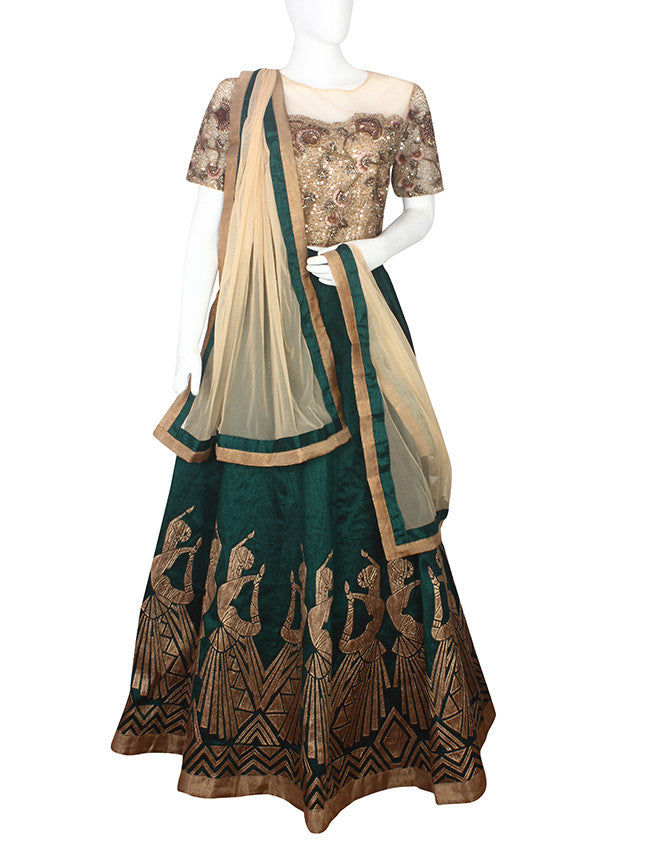 Bottle green beige lehenga with applique and handwork