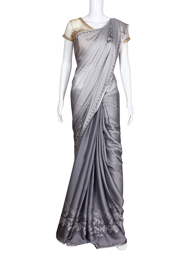 Grey floral printed saree with swarovski