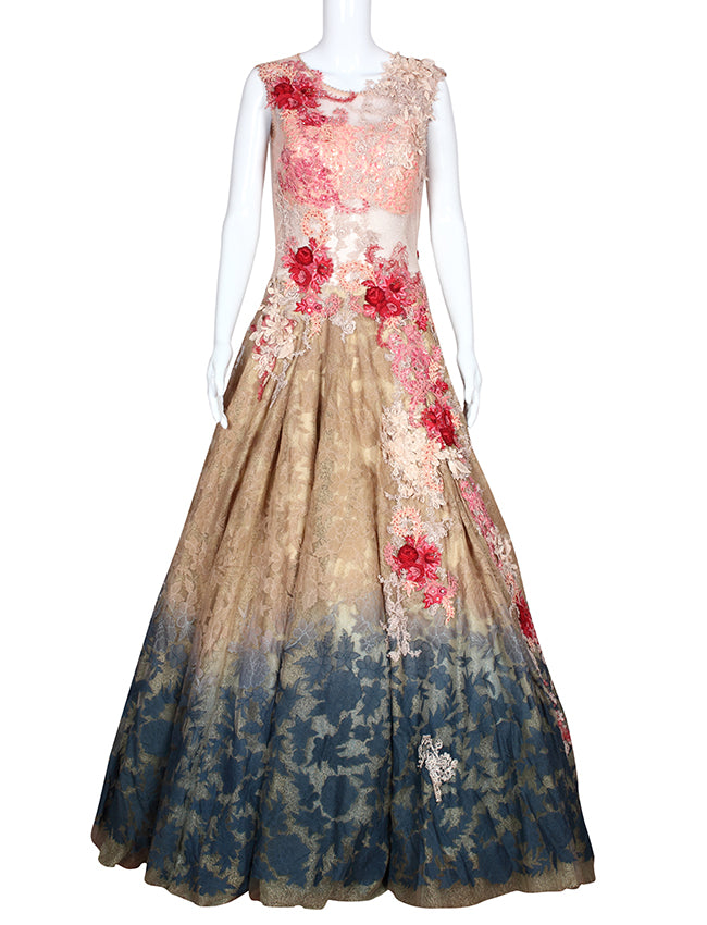 Multi party wear gown with embroidered floral patchwork
