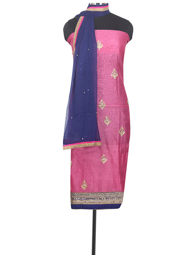 Dusty pink unstitched suit with handwork