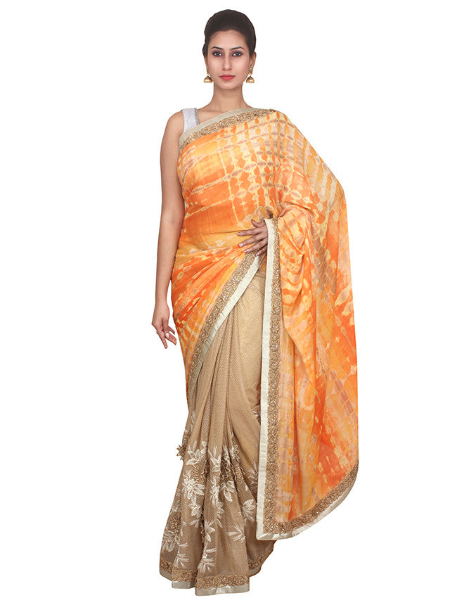 Beige Orange Printed Saree with Zari Embroidery and Patchwork