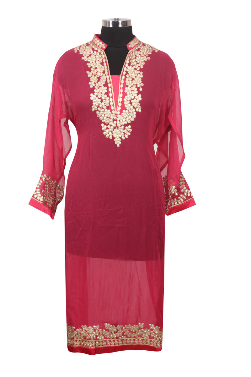 Pink semistitched straight cut suit with gotta patti