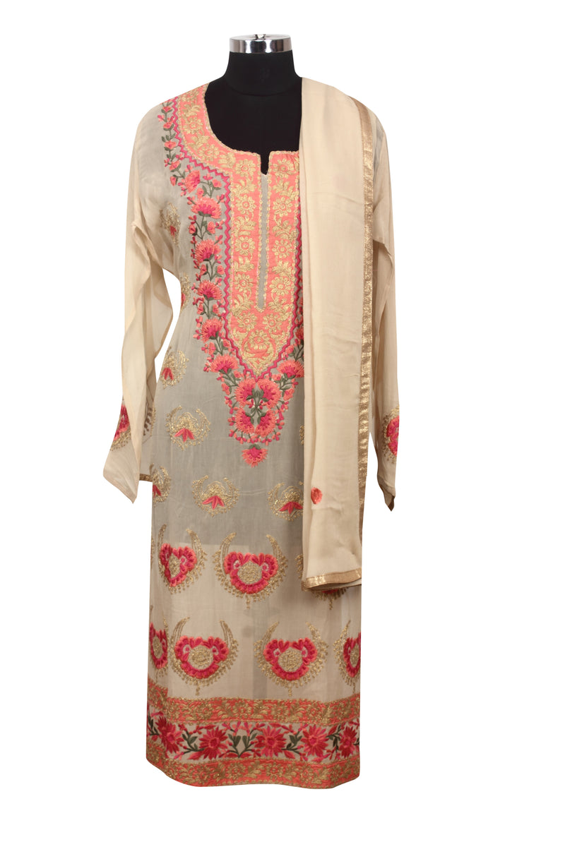 Cream semistitched suit with resham embroidery and zari cording