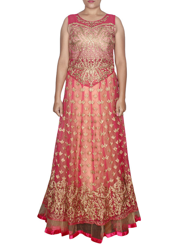 Deep pink anarkali suit with beautiful embroidery