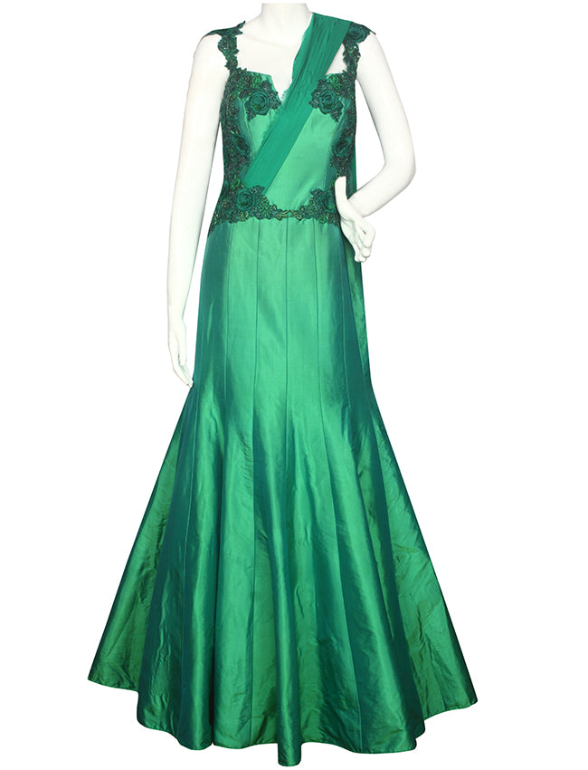 Green party wear gown with resham floral and handwork