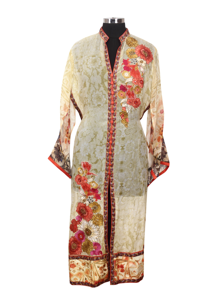 Cream printed semistitched palazzo suit with patchwork