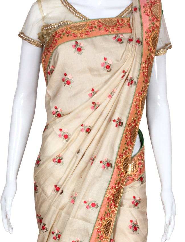 Cream party wear saree with resham embroidery zari cording and handwork