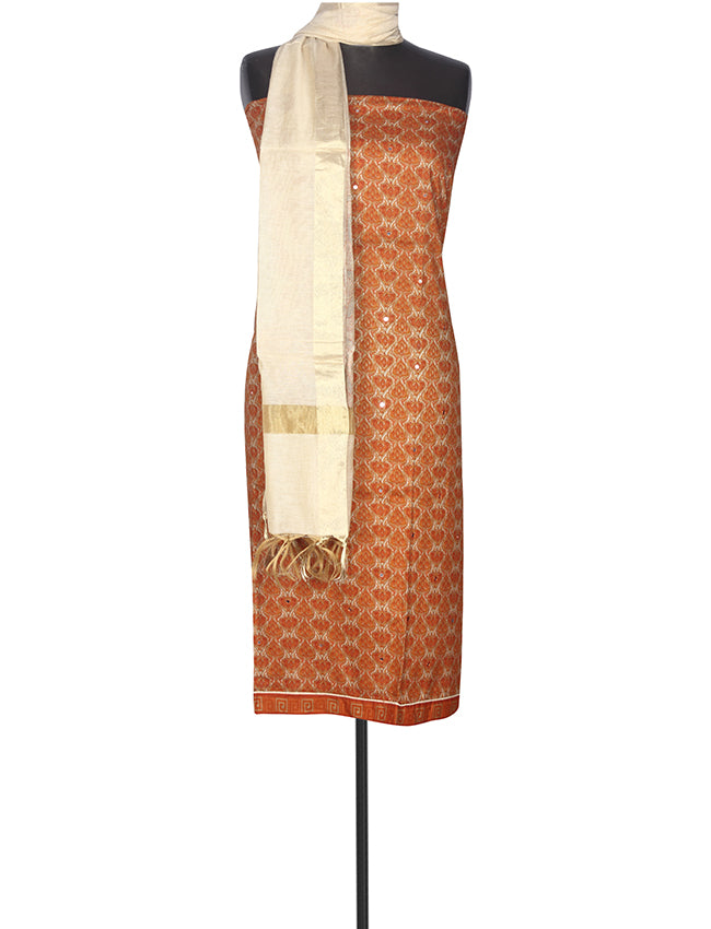 Dusty orange printed unstitched suit with metal mirror work