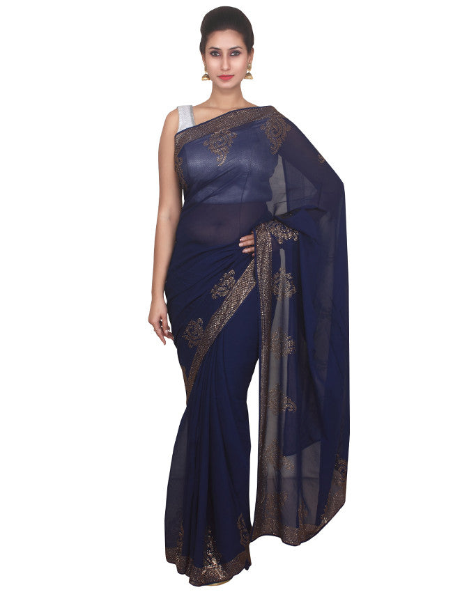 Navy blue georgette saree with beautiful swarovski
