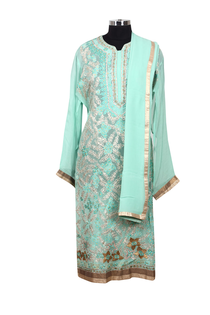 Mint semistitched suit with gotta lace and resham embroidery
