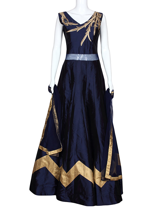 Navy blue party wear anarkali with diamante and zari embroidery