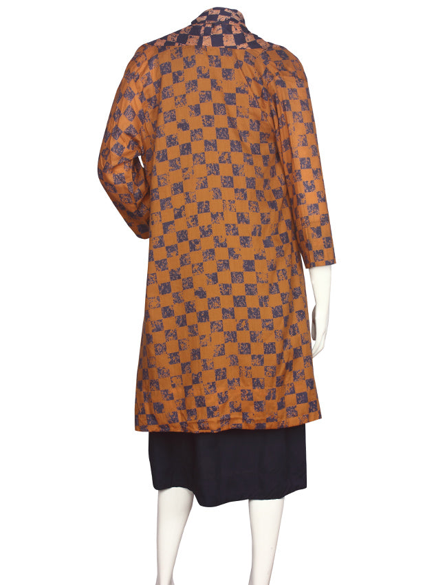 Navy blue and mustard yellow printed jacket kurti