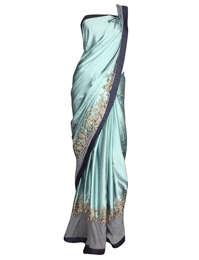 Sky blue ready blouse saree with zero pearl work