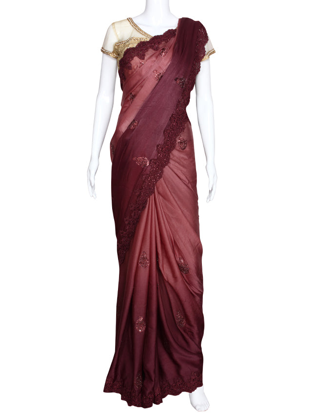 Shaded wine saree with thread cording and swarovski
