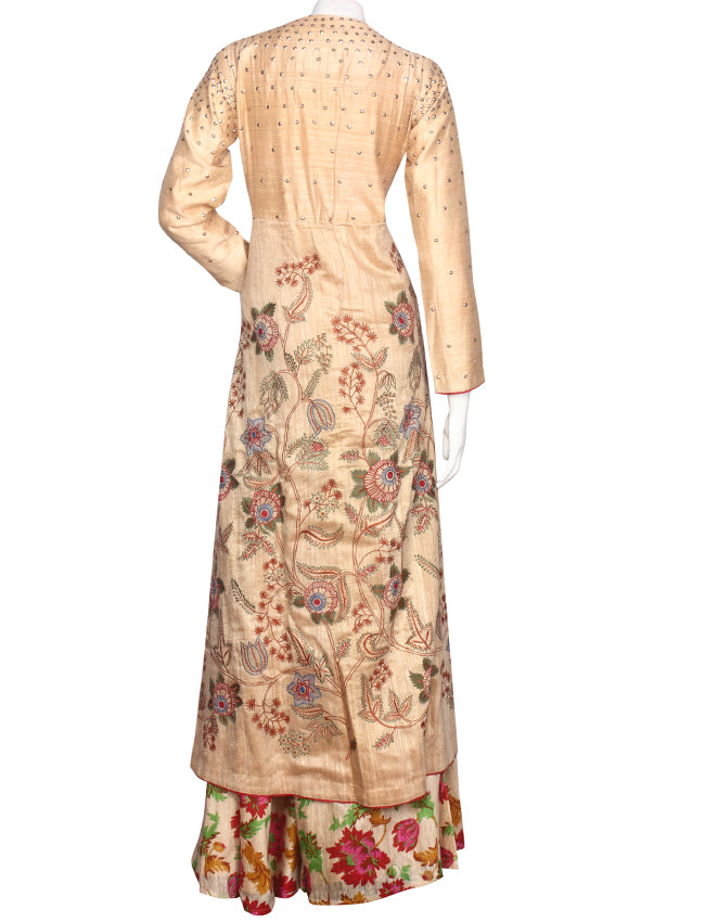 Beige printed jacket lehenga  with machine embroidery