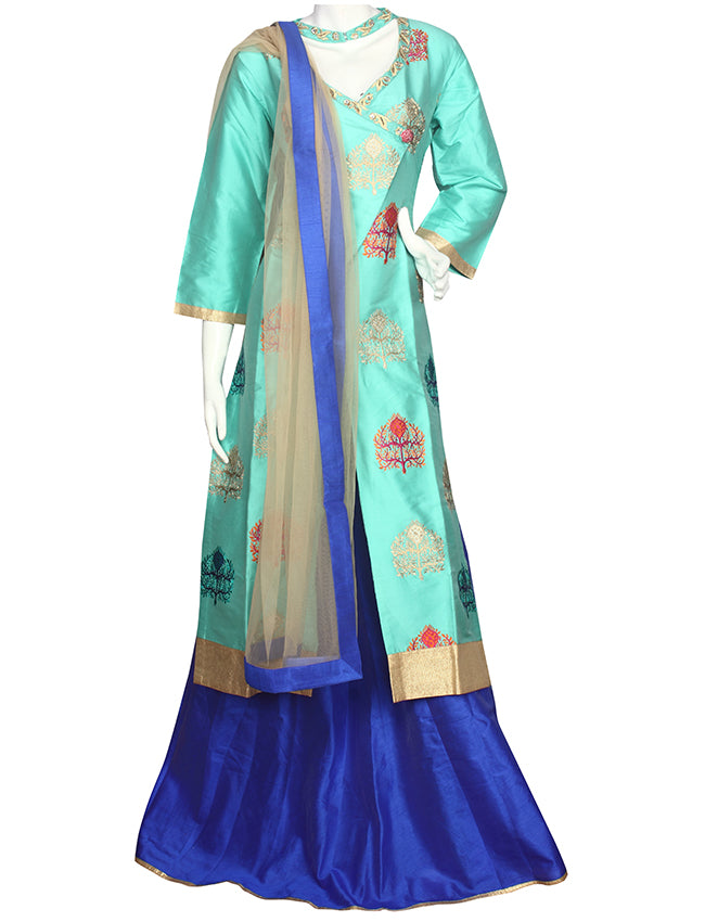 Turquoise royal blue lacha lehenga with zari and resham embroidery