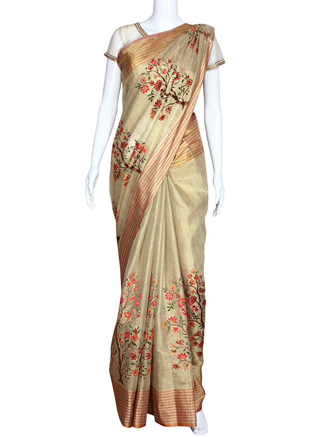 Golden party wear saree with machine embroidery