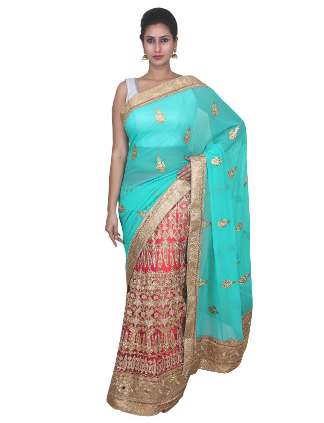 Dark pink turquoise half and half saree with kundan zari embroidery