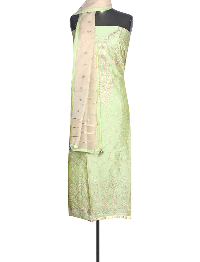 Pista green unstitched suit with zari embroidery