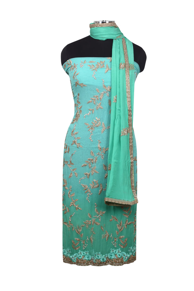 Mint sea green unstitched suit with diamante and zari embroidery