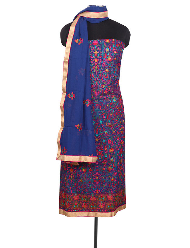 Blue unstitched suit with kashmiri embroidery