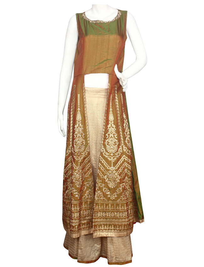 Olive green golden lacha lehenga with mirror and zari embroidery
