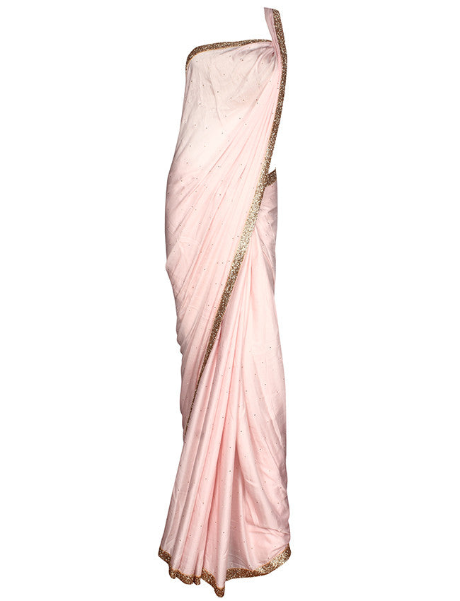 Baby pink party wear saree with cutdana work