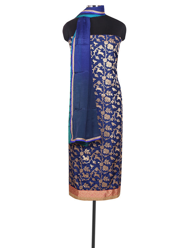 Blue unstitched suit with zari embroidery