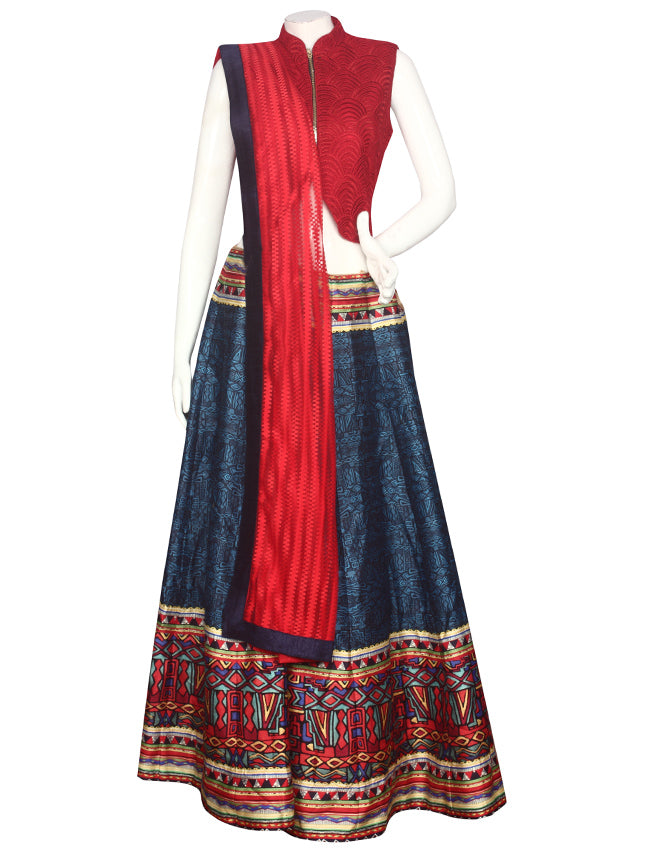 Blue red printed indowestern lehenga with thread embroidery