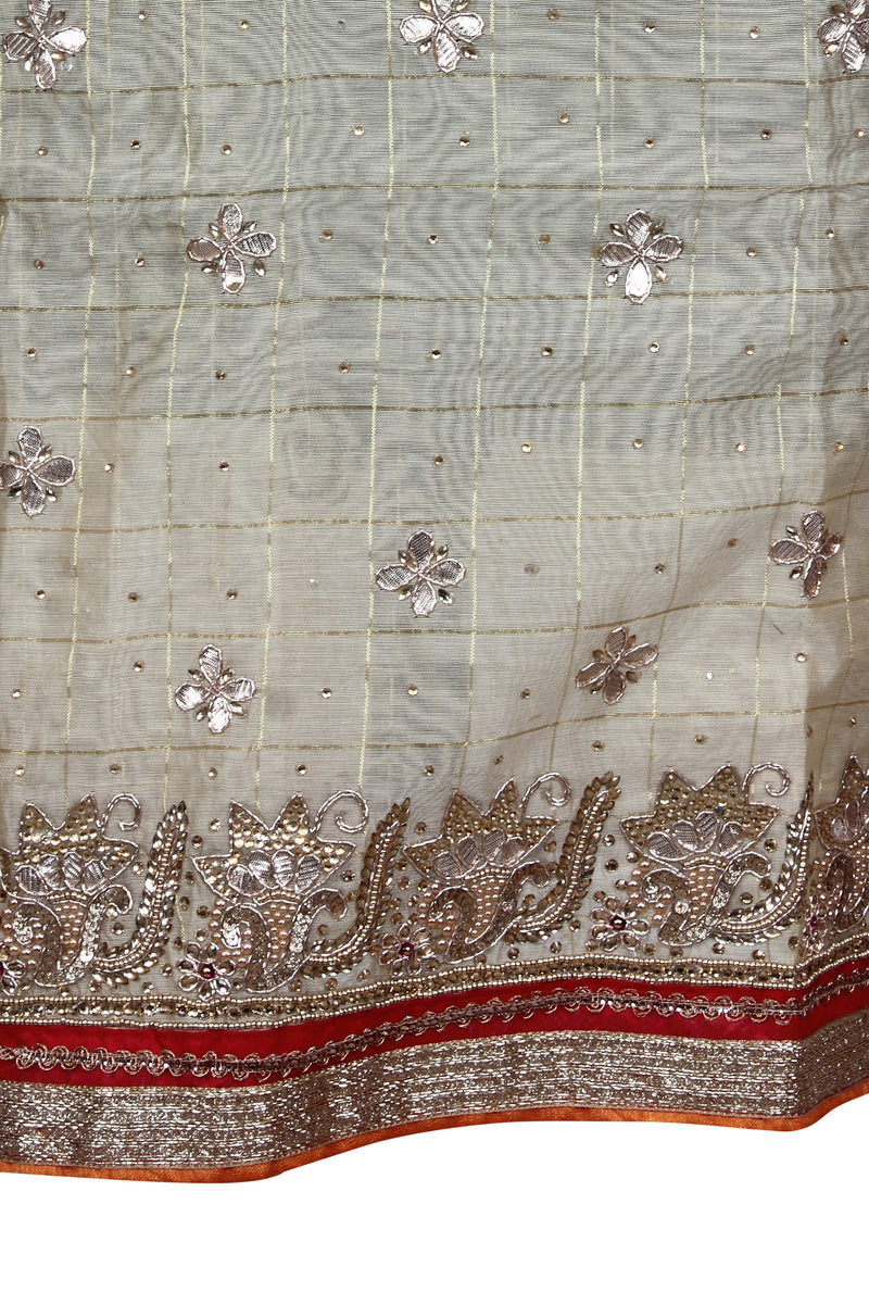 Cream unstitched suit with kundan and gotta patti