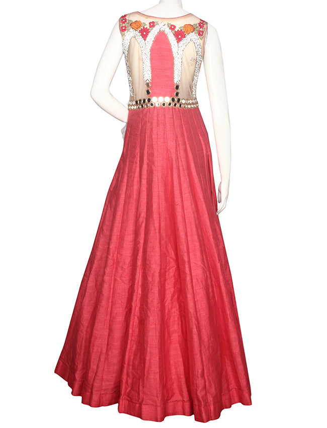 Carrot pink cream gown with mirror diamante and resham embroidery