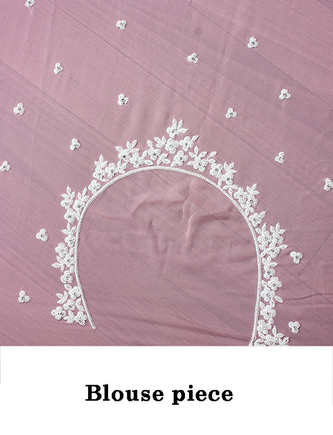 Dusty pink party wear saree with pearl work
