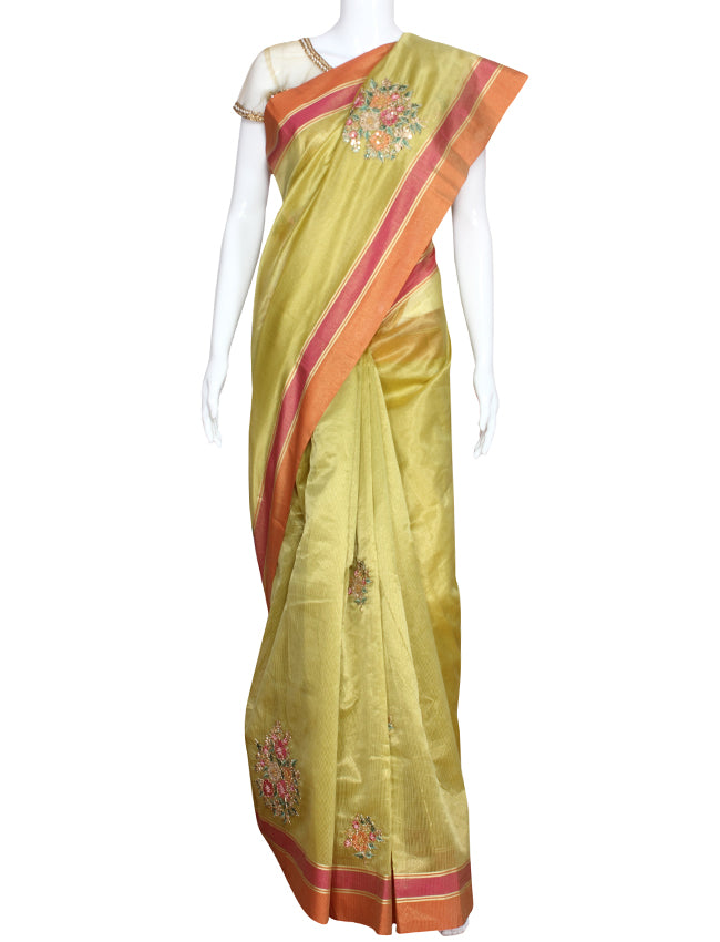 Olive green party wear saree with machine embroidery and handwork