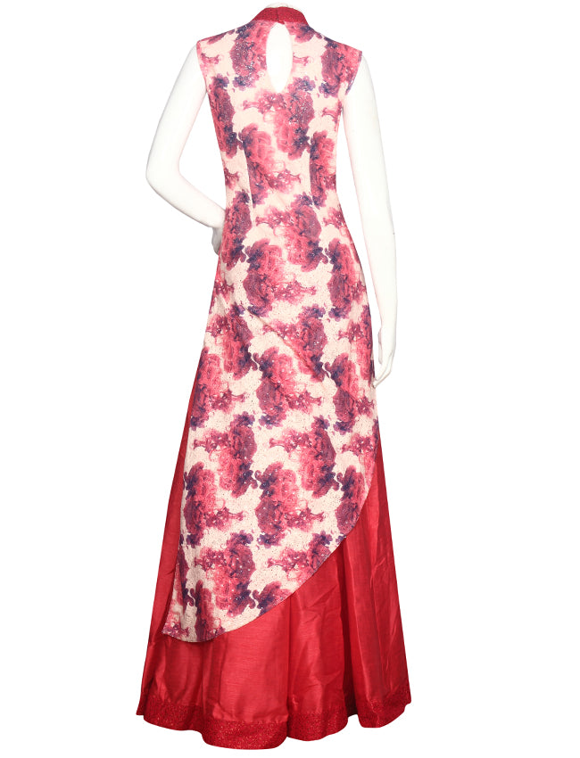 Cream printed lacha with thread embroidery and handwork