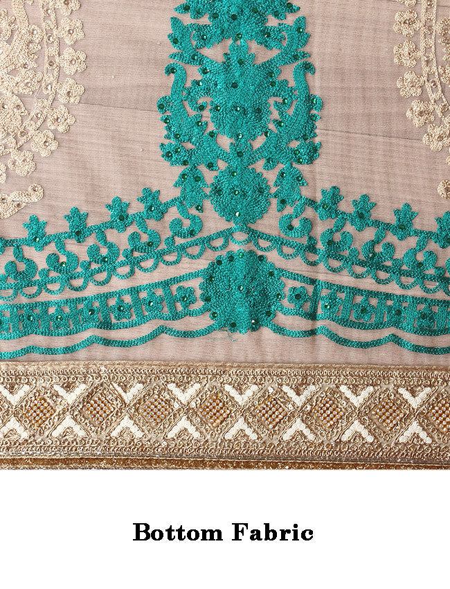 Beige teal green half and half saree with machine embroidery