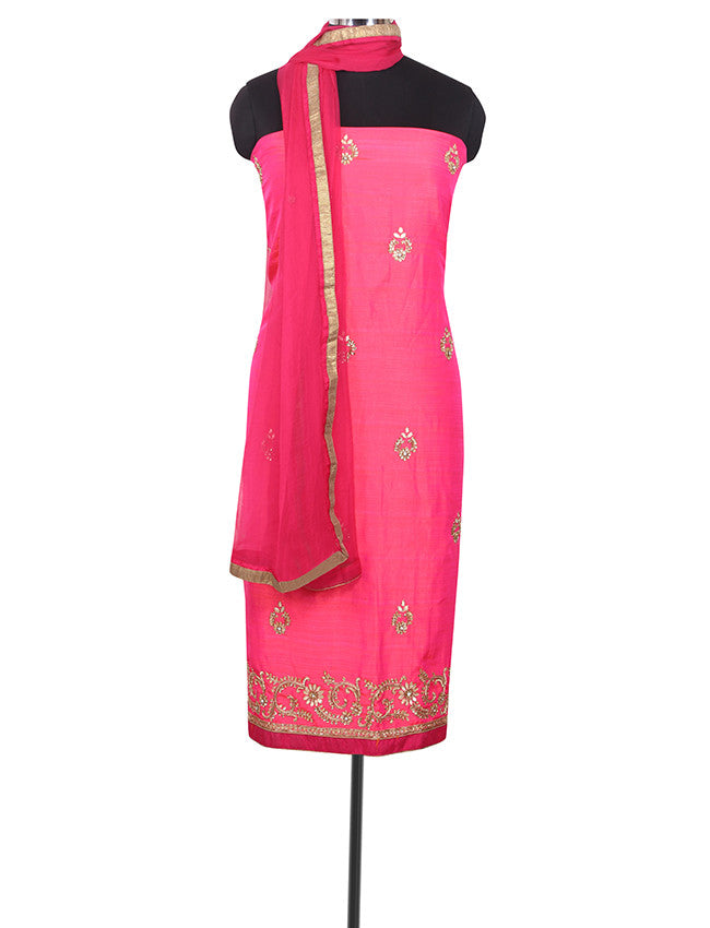 Bright pink unstitched suit with zardosi and kundan work