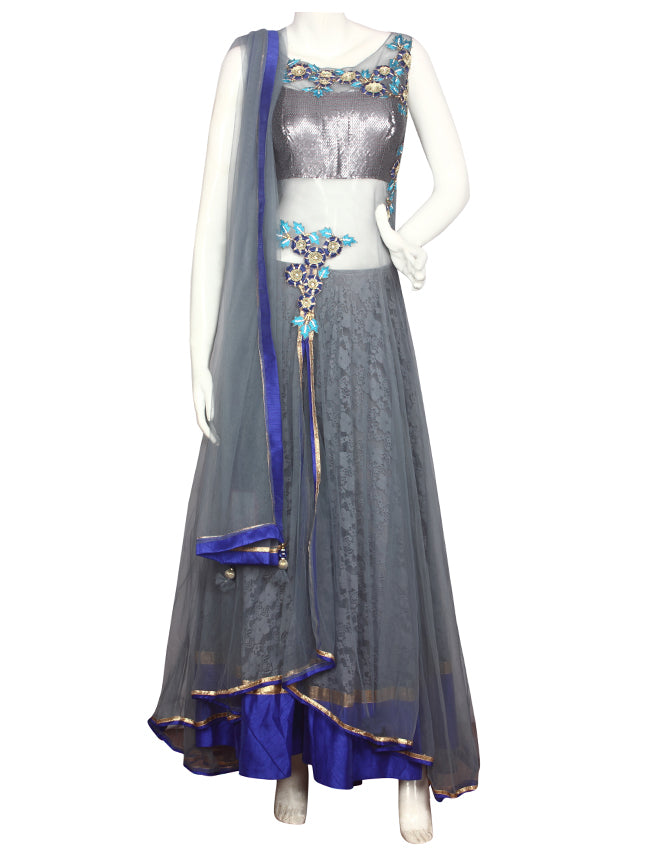 Grey designer double layered suit with embroidered floral patchwork