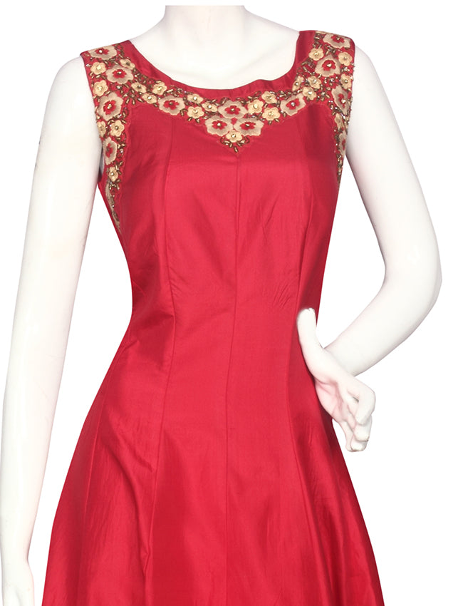 Cherry red anarkali with cutdana and thread embroidery