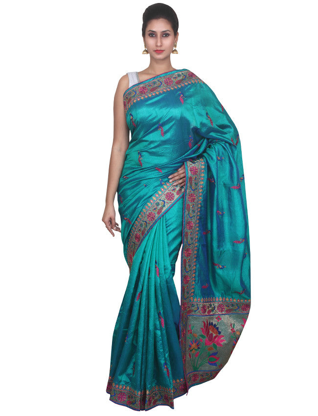 Peacock green and blue two toned saree with resham zari embroidery