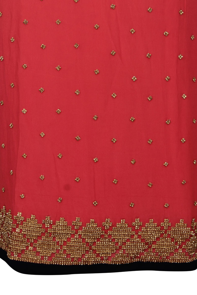 Rose pink unstitched suit with diamante work
