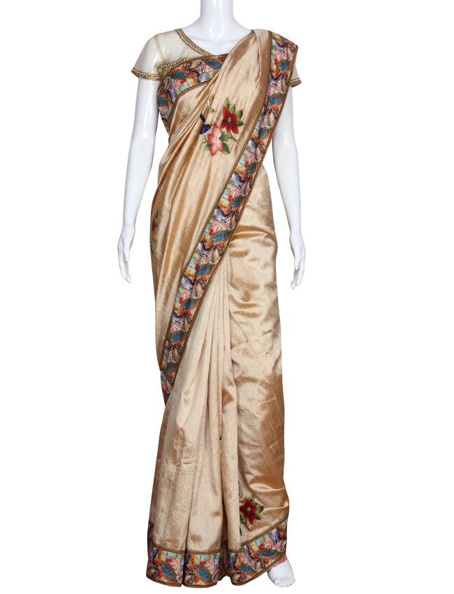 Trendy beige saree with printed patchwork