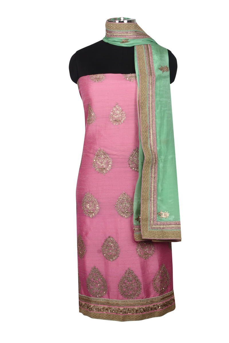 Pink silk unstitched suit with zari cording