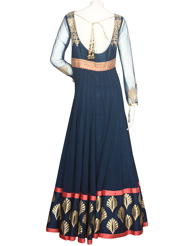 Peacock blue anarkali suit with gotta patti